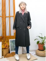 2013-1053- 濃厚・氣質 - 前兩袋 X 後幅下擺開叉 , 滑滑扯布料 X 孖襟西裝褸 (有厘布)  (韓國) -