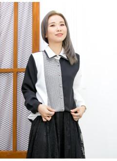 2011-1609-個性・設計-全開胸扣鈕 X 反領 , 格仔薄絨料 X 拼色滑滑料TOP (韓國)