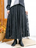 2015-1183-復古·氣質-橡根腰 X 通花LACE , 半截裙 (有厘布) (韓國)