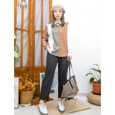 2011-1609A - 個性・設計 -全開胸扣鈕 X 反領 , 格仔薄絨料 X 拼色滑滑料TOP (韓國) 0