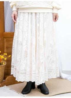 2015-1183A - 復古・氣質 -橡根腰 X 通花LACE , 半截裙 (有厘布) (韓國) 0