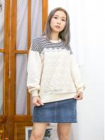 2011-1603A- 橫間・蕾絲 - 前幅橫間 X 通花棉LACE , 淨色COTTON料TOP (韓國) 0