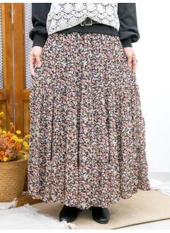 2015-1182-優雅・氣質- 橡根腰 X 層層打摺 , 花花PATTERN雪紡料半截裙 (有厘布) (韓國)
