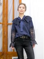 2011-1605- 藍・氣質 - 領位束蝴蝶結 X 袖口橡根 , 領位 , 手袖通花LACE X 薄衛衣料TOP (韓國) 0