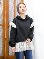 2011-1606 -韓系・設計-下擺 , 膊位通花刺繡恤衫料 X 有帽 , 薄衛衣料TOP (韓國)0