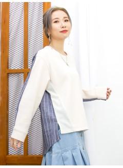 2011-1616A- 低調・魅力 - 下擺兩旁開叉 X 後幅 ,手袖直紋恤衫料 , 淨色雙面料TOP (韓國)