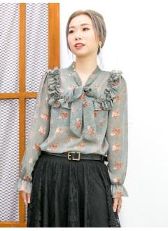 2011-1611A - 碎花・氣質 -領位束蝴蝶結 X RUFFLE邊 , 袖口橡根 X 花花PATTERN , 雪紡料TOP (韓國) -
