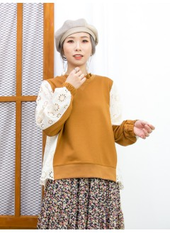 2011-1613A- 蕾絲・氣質 - 領邊通花LACE X 手袖 , 後幅通花刺繡恤衫料 X 淨色薄衛衣料TOP (後幅有厘布) (韓國)0
