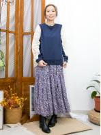 2011-1613-蕾絲・氣質- 領邊通花LACE X 手袖 , 後幅通花刺繡恤衫料 X 淨色薄衛衣料TOP (後幅有厘布) (韓國) 0