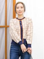 2013-1056A - 淡淡・氣質 -全開胸扣鈕 X 領邊拼色 , 千鳥格PATTERN冷料外套 (韓國) 0