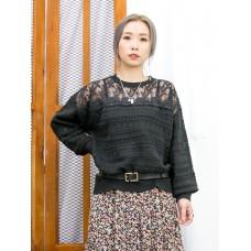 2011-1610-冬日・慵懶感- 領位通花刺繡 , 網布 X 橫紋通通 , 冷料TOP (韓國) -
