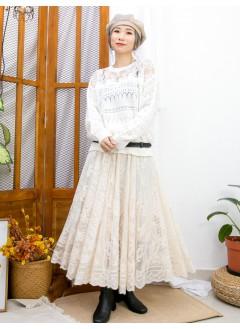 2011-1610A- 冬日・慵懶感 - 領位通花刺繡 , 網布 X 橫紋通通 , 冷料TOP (韓國) 0