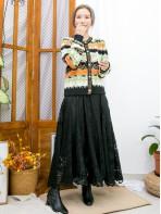 2013-1058- 復古・色調 - 全開胸扣珍珠鈕 X 波浪紋橫間 , 車金線 , 冷料外套 (韓國)0