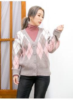 2013-1057 - 經典・菱格 -全開胸扣鈕 X 菱格PATTERN , V領冷料外套 (韓國) 0