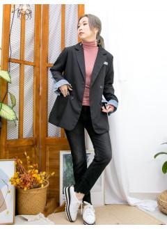 2013-1048 - 帥氣・西裝 -前兩袋 X 孖襟款 , 扯布料 X 牛仔料 , 西裝褸 (韓國) 0