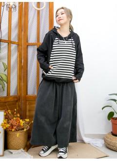 2011-1622- 日系・橫間 - 下擺束繩 X 前兩袋 , 橫間薄衛衣料 X 淨色恤衫料 , 有帽TOP (韓國)