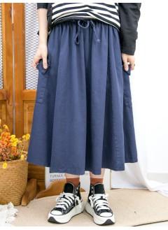 2015-1192-超好著- 橡根腰束繩 X 兩側袋 , 扯布料 X A-LINE半截裙 (韓國) -