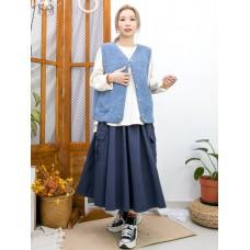 2013-1067-溫暖感- 全開胸扣鈕 X 前兩袋 , 羊羔絨背心外套 (韓國) -
