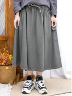 2015-1192A- 超好著 - 橡根腰束繩 X 兩側袋 , 扯布料 X A-LINE半截裙 (韓國) 0