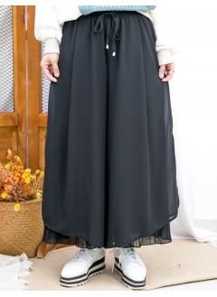 2015-1188 - 飄逸・黑色 -腰位橡根 X 束繩 , DOUBLE LAYER內層百摺 X 雪紡料闊褲 (韓國) 0