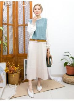 2011-1617A - 清雅・氣質 -領位 ,袖口 ,下擺羅紋料 X 格仔雙面料 ,手袖拼色滑滑料 X 蝙蝠袖TOP (韓國)