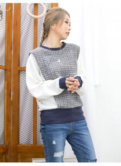 2011-1617-清雅・氣質- 領位 ,袖口 ,下擺羅紋料 X 格仔雙面料 , 手袖拼色滑滑料 X 蝙蝠袖TOP (韓國) -