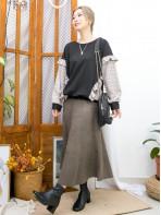 2011-1607 -復古・格仔-下擺車線橡根 X 兩旁RUFFLE邊 , 手袖 , 兩旁格仔恤衫料 X 淨色雙面料TOP (韓國) 0