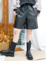 2015-1184 -冬日・型格 -後腰橡根 X 前腰束繩 , 兩側袋 X 仿皮料短褲 (韓國) 0