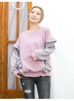 2011-1607A - 復古・格仔 -下擺車線橡根 X 兩旁RUFFLE邊 , 手袖 , 兩旁格仔恤衫料 X 淨色雙面料TOP (韓國)