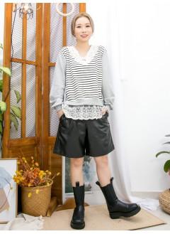 2011-1623A- 蕾絲・橫間 - 前幅下擺通花LACE , 網布 X 領位勾花 , 釘珍珠 , 橫間薄衛衣料 X 淨色COTTON料TOP (韓國) -