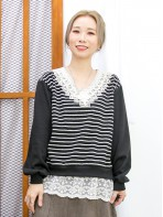 2011-1623-蕾絲・橫間-前幅下擺通花LACE , 網布 X 領位勾花 , 釘珍珠 , 橫間薄衛衣料 X 淨色COTTON料TOP (韓國)