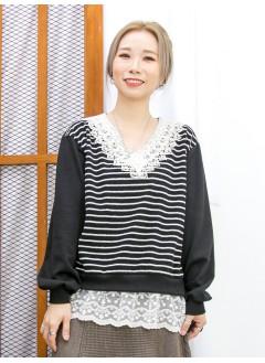 2011-1623-蕾絲・橫間-前幅下擺通花LACE , 網布 X 領位勾花 , 釘珍珠 , 橫間薄衛衣料 X 淨色COTTON料TOP (韓國)-