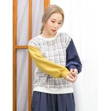 2011-1620A - 隨意・優雅 -手袖 , 後幅不同色雙面料 X 前幅花喱布TOP (韓國)