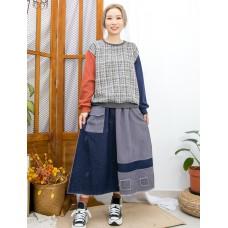 2011-1620 -隨意・優雅-手袖 , 後幅不同色雙面料 X 前幅花喱布TOP (韓國) 0