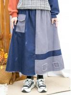 2015-1187 - 特式・日系 -下擺SOSO X 爛爛 , 兩側袋 X 橡根腰 , 牛仔料 X 燈芯絨料半截裙 (韓國) 0