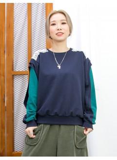 2011-1621-特式・設計- 膊位LACE X 手袖拼色 , 薄衛衣料TOP (韓國) -