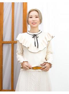 2011-1630- 優雅・氣質 - 胸位 ,袖口RUFFLE邊 X 領位束蝴蝶結 , 胸位直紋 X 淨色冷料TOP (韓國)  -