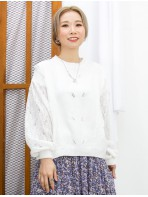 2011-1629A - 低調美 -手袖 , 後幅通花LACE X 前幅冷料TOP (韓國) 0