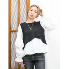 2011-1627-ruffles・袖-袖口橡根 X 手袖打摺, 手袖 , 下擺滑滑料 X 拼色坑紋雙面料TOP (韓國)