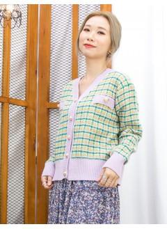 2013-1065A - 優雅感 -全開胸扣鈕 X 格仔PATTERN , 冷料 X V領外套 (韓國) 0