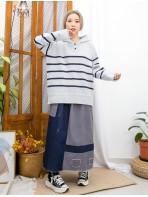 2011-1619 -軟QQ-領位開胸扣鈕 X 下擺 ,袖口卷卷邊 , 橫間 X 有帽冷料TOP (韓國) -