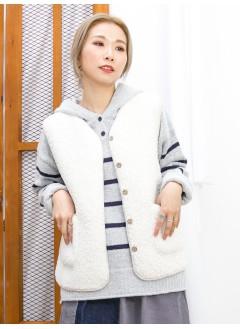 2013-1067A-溫暖感- 全開胸扣鈕 X 前兩袋 , 羊羔絨背心外套 (韓國)