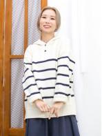 2011-1619A- 軟QQ - 領位開胸扣鈕 X 下擺 ,袖口卷卷邊 , 橫間 X 有帽冷料TOP (韓國) -
