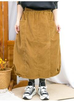 2015-1196-特式・日系- 下擺兩旁U形橡根 X 兩側袋 , 橡根腰 X 坑紋燈芯絨料半截裙 (韓國)  -