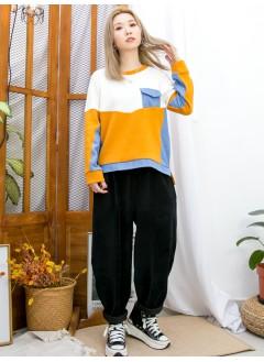 2011-1640A - 隨意・色調 -下擺兩旁開叉 X 胸位直紋薄冷料 , 淨色薄衛衣料 X 牛仔料TOP (韓國)