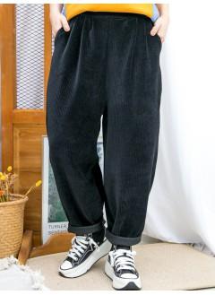 2015-1190A- 運動風 - 兩側袋 X 前腰打摺 X 後腰橡根 , 坑紋燈芯絨料 X 少低浪褲 (韓國)