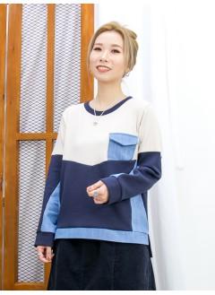 2011-1640 -隨意・色調-下擺兩旁開叉 X 胸位直紋薄冷料 , 淨色薄衛衣料 X 牛仔料TOP (韓國)