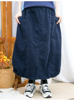 2015-1196B - 特式・日系 -下擺兩旁U形橡根 X 兩側袋 , 橡根腰 X 坑紋燈芯絨料半截裙 (韓國)