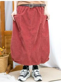 2015-1196A-特式・日系- 下擺兩旁U形橡根 X 兩側袋 , 橡根腰 X 坑紋燈芯絨料半截裙 (韓國)