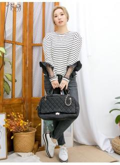 2011-1639 -設計感-袖口恤衫料RUFFLE邊 X 網布 , 坑紋羅紋料TOP (韓國) 0
